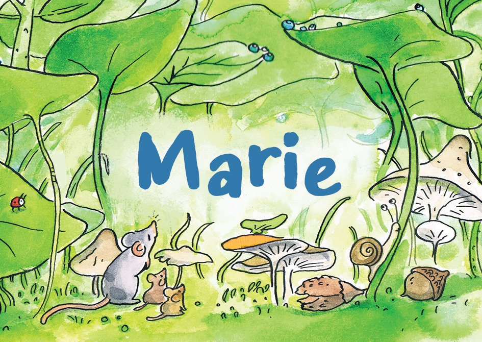 geboortekaartje muis en groen blad