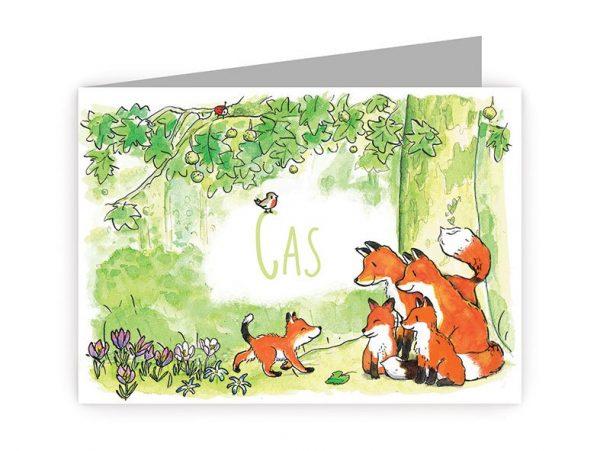 dit is een geboortekaartje met dieren; een familie vossen en een klein babyvosje in het bos. Je ziet ook een lieveheersbeestje, bloemen en een vogeltje.